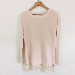 LOFT Sweaters - LOFT Pink Knit Lace Trim Loose Fit Sweater XS